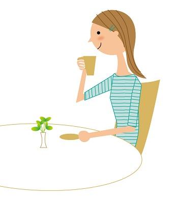 お茶を飲む人
